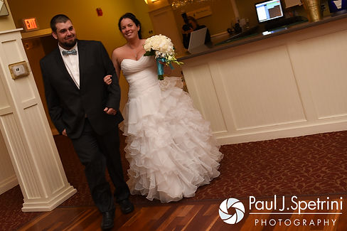 Kelly and Brian are introduced during their November 2016 wedding reception at the Bay Pointe Club in Buzzards Bay, Massachusetts.