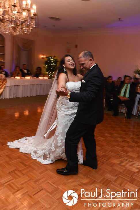 Stephany and her father dance during her September 2017 wedding reception at Wannamoisett Country Club in Rumford, Rhode Island.