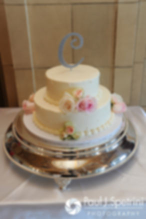 A look at Amy and DJ's cake during their June 2016 wedding reception at Aldrich Mansion in Warwick, Rhode Island.