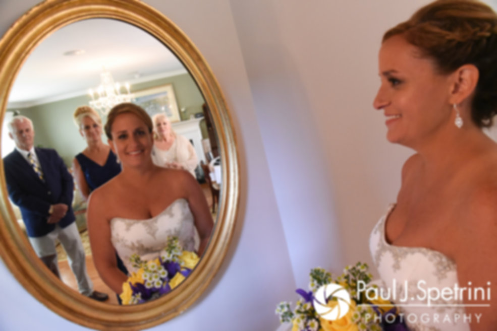 Rebecca smiles for a photo prior to her August 2017 wedding ceremony in Warwick, Rhode Island.