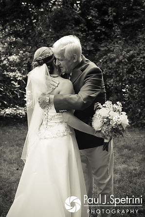 Rebecca and her father share a hug during their first look prior to her August 2017 wedding ceremony in Warwick, Rhode Island.