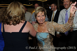 Wedding guests dance during Justin and Jamie Bolani's June 2015 wedding reception in Bristol, Rhode Island.