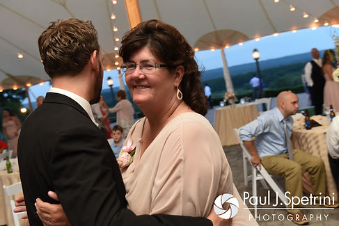 Justin and his mother in law dance during his July 2016 wedding reception at the Overlook at Geer Tree Farm in Griswold, Connecticut.