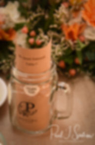 A look at a decorative mug for guests prior to Jacob & Stephanie's June 2018 wedding reception at Foster Country Club in Foster, Rhode Island.
