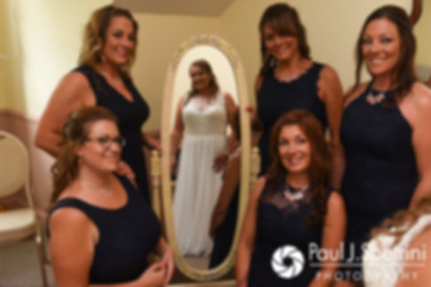 Toni and her bridesmaids pose for a photo prior to her August 2017 wedding ceremony at Crystal Lake Golf Club in Mapleville, Rhode Island.