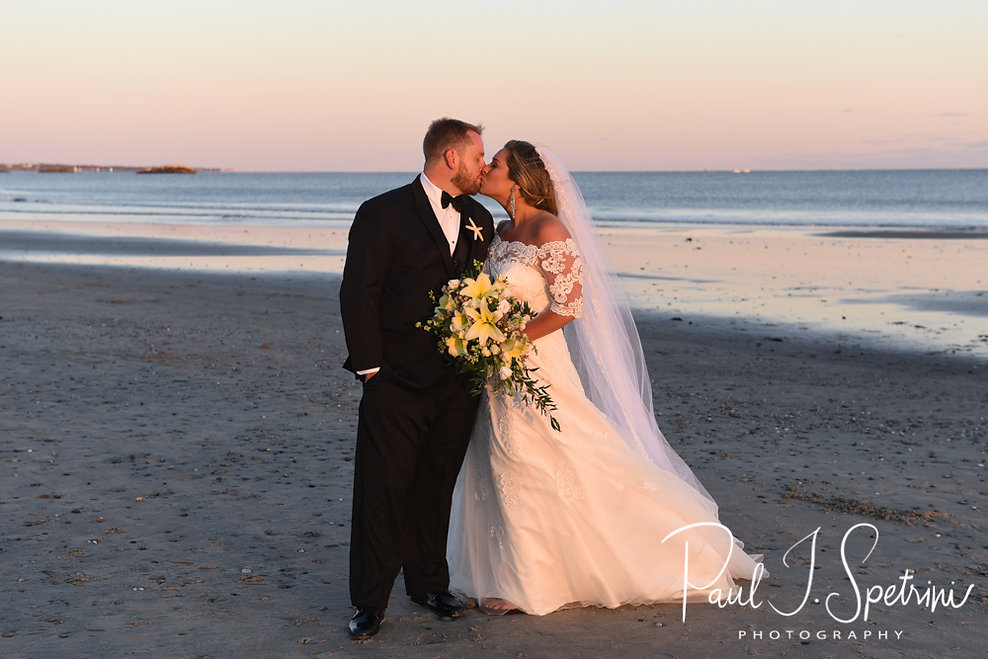 Cara & Brandon pose for a formal photo prior to their November 2018 wedding reception at the North Beach Clubhouse in Narragansett, Rhode Island.
