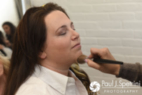 Meridith has her makeup applied prior to her May 2017 wedding ceremony at the Hope Artiste Village in Pawtucket, Rhode Island.