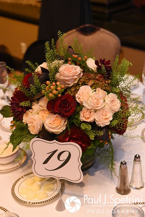A look at the centerpieces prior to Tricia and Kevin's October 2017 wedding reception at the Providence Biltmore in Providence, Rhode Island.