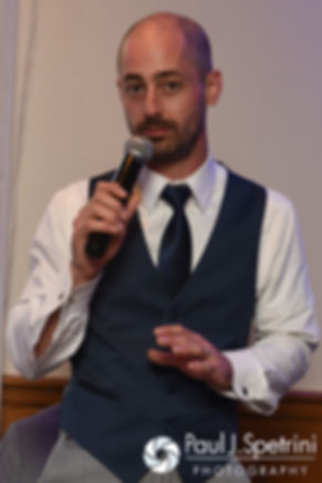 Mark's brother gives a toast during his September 2016 wedding reception at the RI Shriners and Imperial Room at Rhodes Place in Providence, Rhode Island.