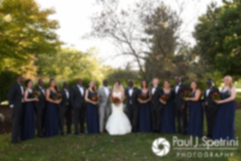 Kristina and Kevin pose for a formal photo with their wedding party following their October 2017 wedding ceremony at the Villa Ridder Country Club in East Bridgewater, Massachusetts.