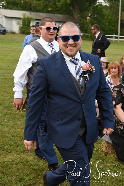 Adam walks down the aisle during his September 2018 wedding ceremony at Stepping Stone Ranch in West Greenwich, Rhode Island.