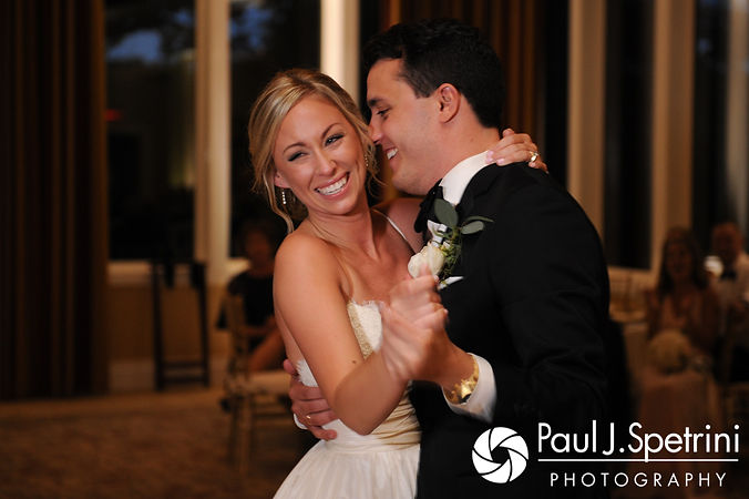 Laura and Laki share their first dance during their September 2017 wedding reception at Lake of Isles Golf Club in North Stonington, Connecticut.