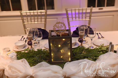 A look at the sweetheart table prior to Stacey & Mack's December 2018 wedding reception at Independence Harbor in Assonet, Massachusetts.