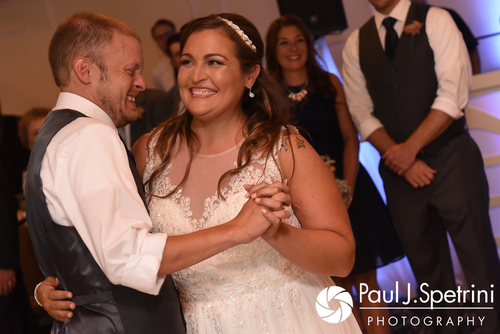 Toni and Scott share their first dance during their August 2017 wedding reception at Crystal Lake Golf Club in Mapleville, Rhode Island.