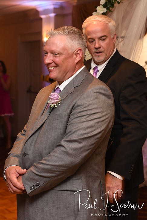 Rick reacts to seeing Robin during his August 2018 wedding ceremony at Twelve Acres in Smithfield, Rhode Island.