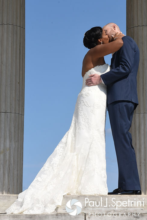 Jennifer and Mark kiss during their September 2016 wedding at the Roger Williams Park Temple of Music in Providence, Rhode Island.