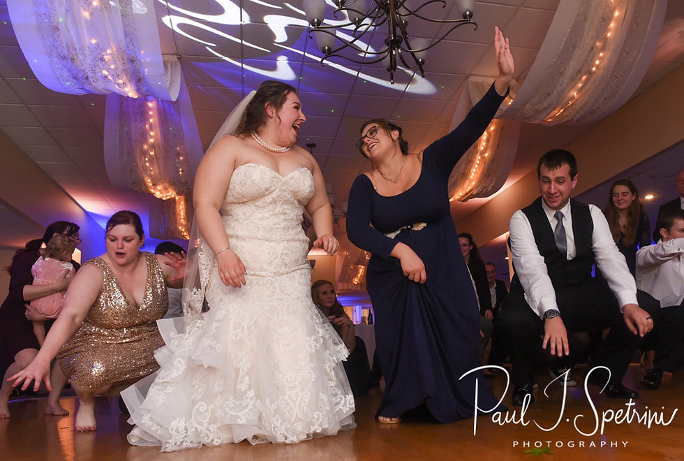 Chris and Stephanni dance with guests during their October 2018 wedding reception at Rachel's Lakeside in Dartmouth, Massachusetts.