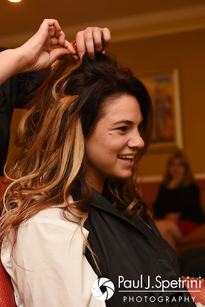 Nicky has her hair done prior to her September 2017 wedding ceremony at the Crowne Plaza Hotel in Warwick, Rhode Island.