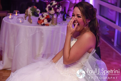 Stephanie laughs during her October 2016 wedding reception at Lake Pearl Luciano's in Wrentham, Massachusetts.