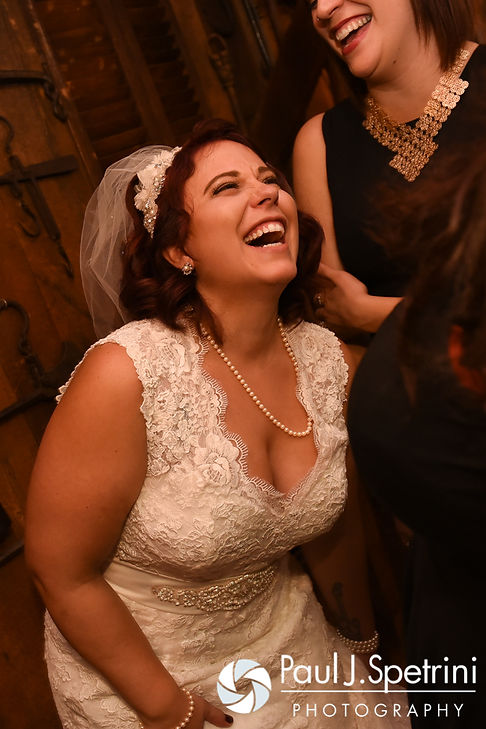 Crystal laughs during her November 2016 wedding reception at the Salem Cross Inn in West Brookfield, Massachusetts.