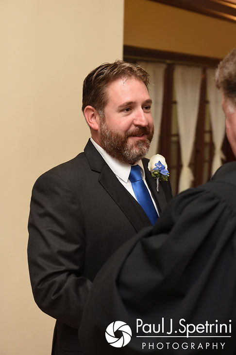 Kevin talks to his officiant prior to his October 2017 wedding ceremony at Cranston Country Club in Cranston, Rhode Island.