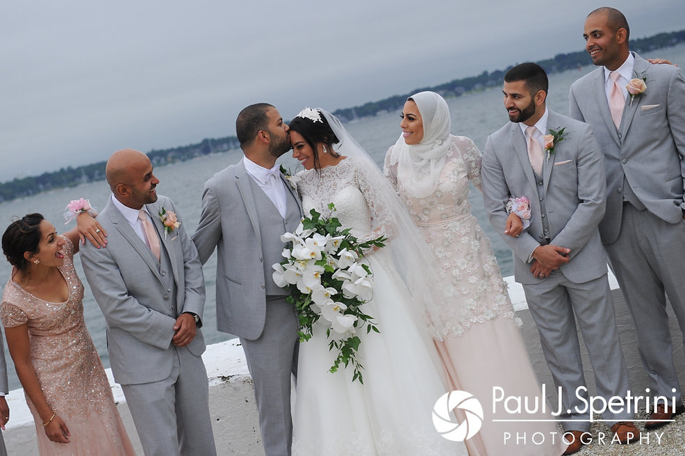 Nashua and Nader pose with family for formal photos following their July 2017 wedding ceremony at Belle Mer in Newport, Rhode Island.