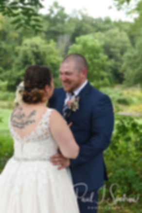 Adam and Ashley share a moment prior to their September 2018 wedding ceremony at Stepping Stone Ranch in West Greenwich, Rhode Island.