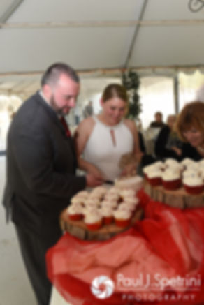 Latasha and Justin cut the cake at their May 2016 wedding reception at Country Gardens in Rehoboth, Massachusetts.