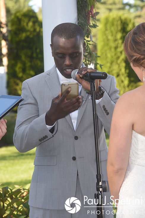 Kevin reads his vows during his October 2017 wedding ceremony at the Villa Ridder Country Club in East Bridgewater, Massachusetts.
