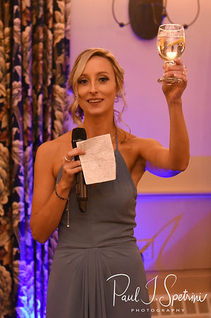 The maid of honor gives a toast during Nicole & Kurt's November 2018 wedding reception at the Publick House Historic Inn in Sturbridge, Massachusetts.