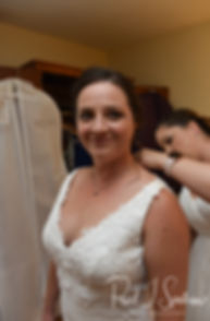 Selah smiles prior to her August 2018 wedding ceremony at The Rotunda Ballroom at Easton's Beach in Newport, Rhode Island.