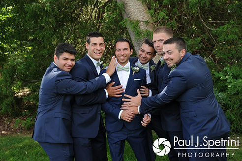 Bruce poses for a formal photo with his groomsmen prior to his August 2017 wedding ceremony at The Inn at Mystic in Mystic, Connecticut.