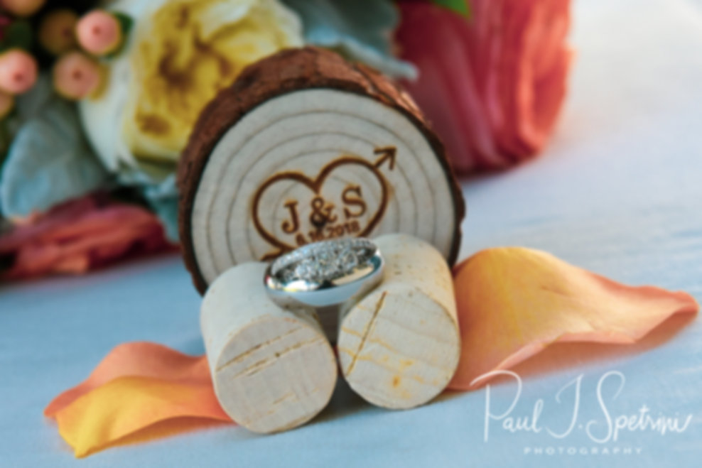 A look at Stephanie and Jacob's wedding rings during their June 2018 wedding reception at Foster Country Club in Foster, Rhode Island.