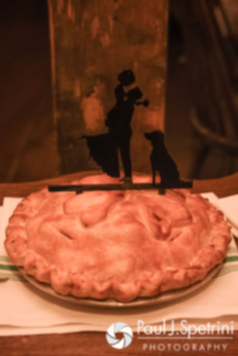 A look at Crystal and Andy's wedding pie, on display during their November 2016 wedding reception at the Salem Cross Inn in West Brookfield, Massachusetts.