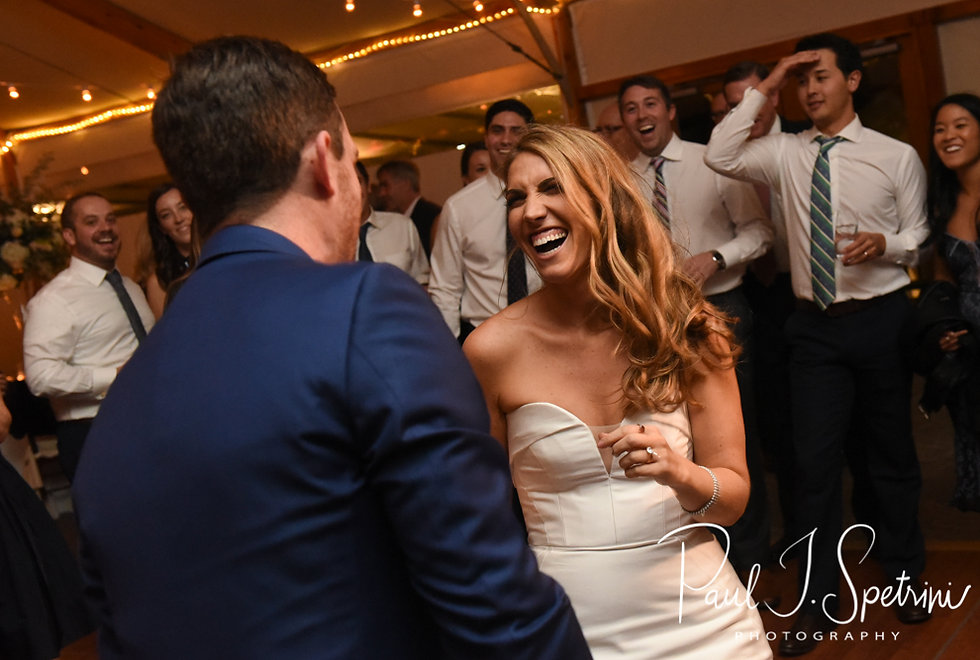 David and Whitney dance during their October 2018 wedding ceremony at Castle Hill Inn in Newport, Rhode Island.
