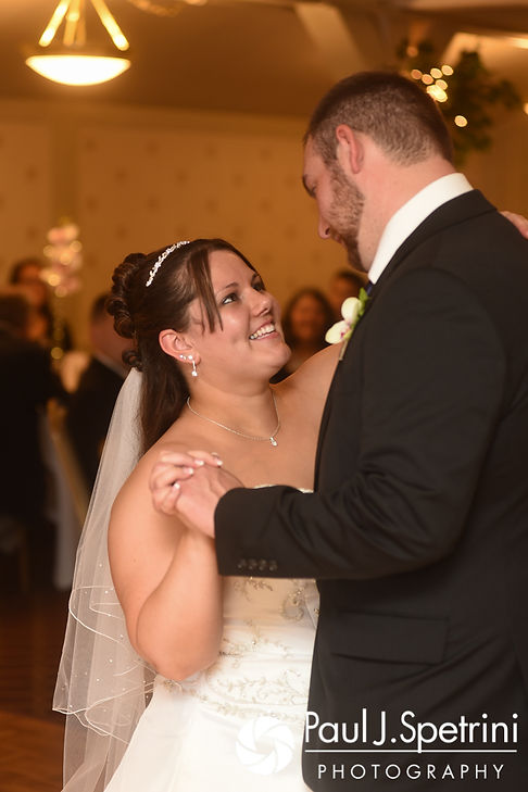 Clarissa and Jeff share their first dance during their June 2017 wedding reception at Twelve Acres in Smithfield, Rhode Island.