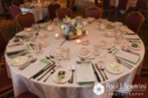 A look at Neil and Gianna's table settings prior to their July 2017 wedding reception at Quidnessett Country Club in North Kingstown, Rhode Island.