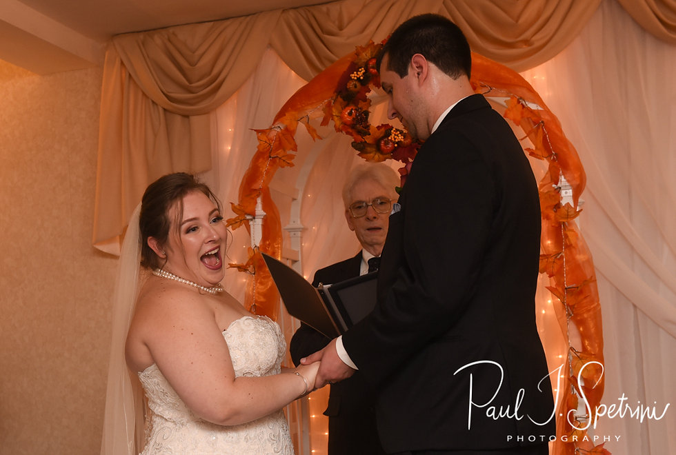 Chris and Stephanni react during their October 2018 wedding reception at Rachel's Lakeside in Dartmouth, Massachusetts.