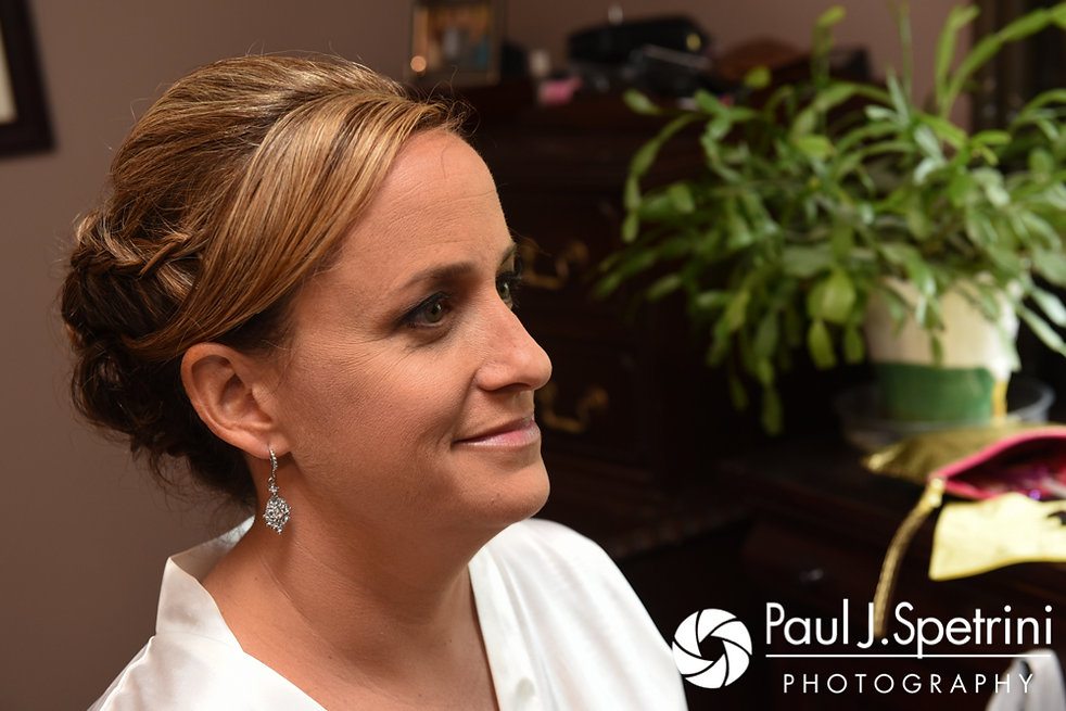 Rebecca sits in the hair and makeup chair prior to her August 2017 wedding ceremony in Warwick, Rhode Island.