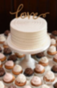 A look at the cake, shown on display during Michael & Miranda's August 2018 wedding reception at the Squantum Association in Riverside, Rhode Island.
