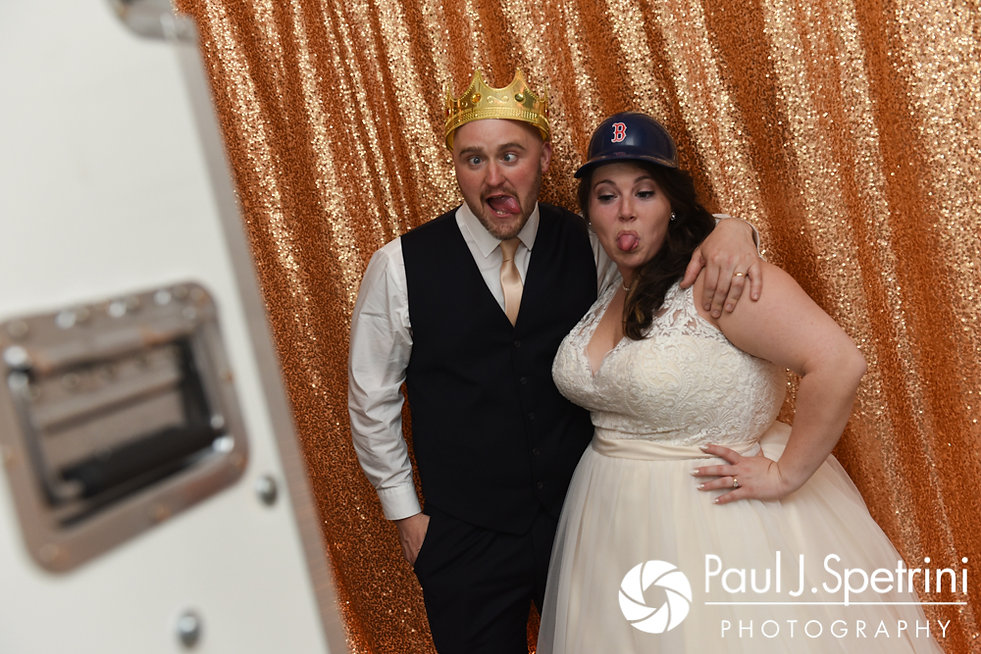 Matthew and Meridith pose for a photo booth photo during their May 2017 wedding reception at the Hope Artiste Village in Pawtucket, Rhode Island.