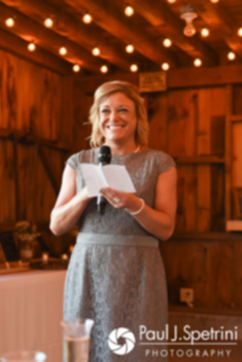Jennifer's matron of honor gives a toast during Kevin and Jen's September 2017 wedding reception at Allen Hill Farm in Brooklyn, Connecticut.