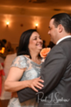 Jacob and his mother dance during his June 2018 wedding reception at Foster Country Club in Foster, Rhode Island.