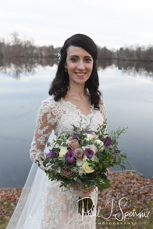 Stacey poses for a formal photo at Roger Williams Park in Providence, Rhode Island prior to her December 2018 wedding reception at Independence Harbor in Assonet, Massachusetts.