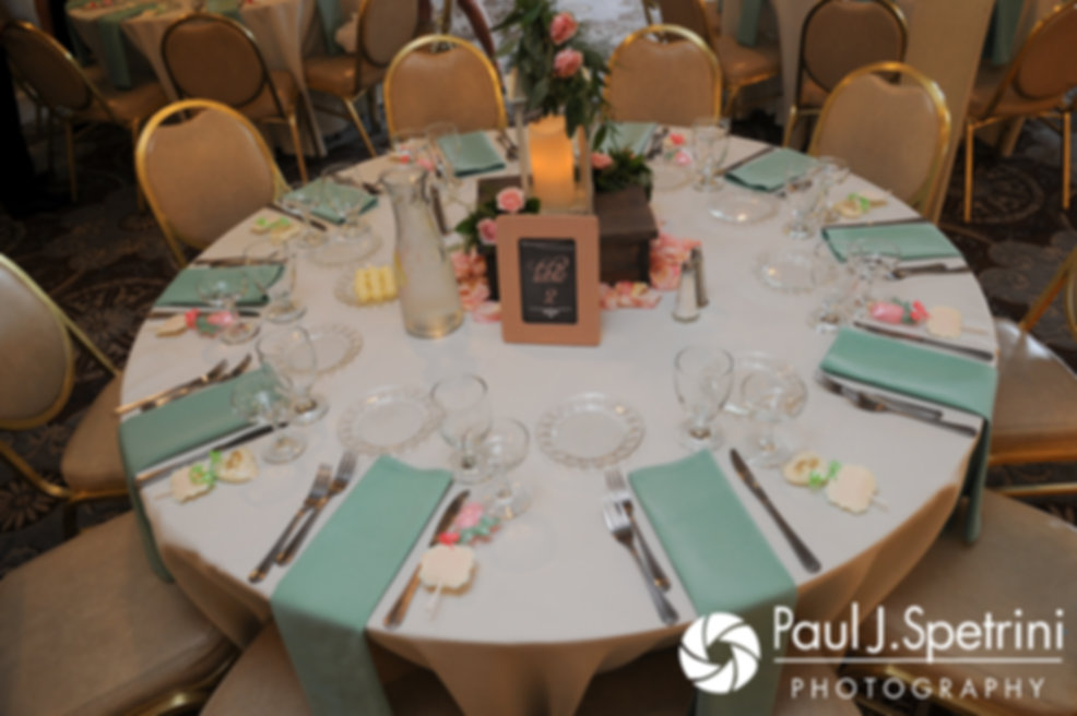 A look at Sean and Cassie's table decorations prior to their July 2017 wedding reception at Rachel's Lakeside in Dartmouth, Massachusetts.