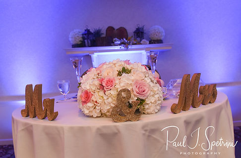 A look at the sweetheart table during Patrick & Courtney''s September 2018 wedding reception at Valley Country Club in Warwick, Rhode Island.