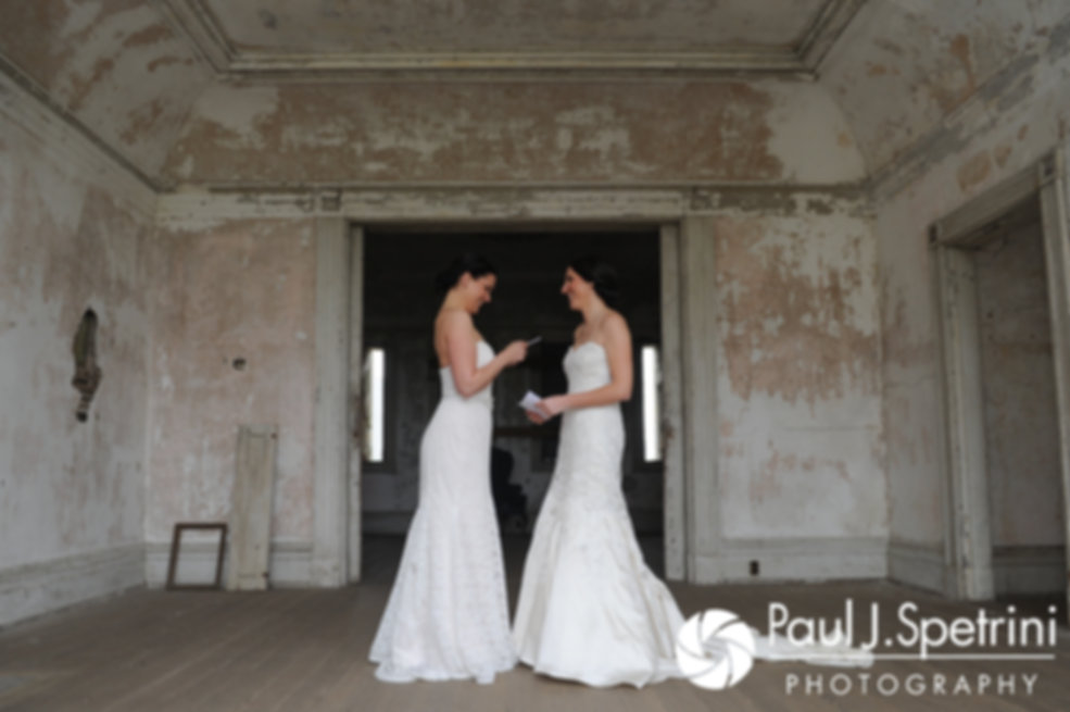 Caroline and Morgan practice their vows before their April wedding ceremony at the Fort Adams Trust in Newport, Rhode Island.