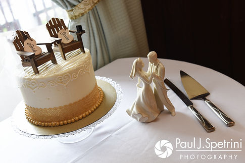 A look at the wedding cake prior to Mike and Rachel's October 2017 wedding reception at Castle Manor Inn in Gloucester, Massachusetts.
