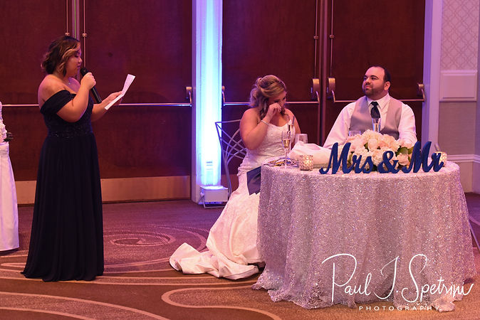 The maid of honor gives a toast during Sarah & Anthony's October 2018 wedding reception at The Omni Hotel in Providence, Rhode Island.