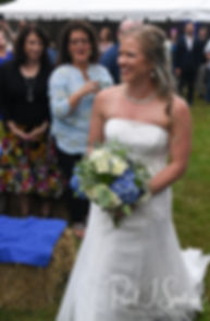 Kim smiles during her September 2018 wedding ceremony at their home in Coventry, Rhode Island.
